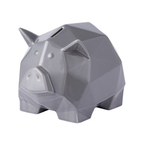 Origami Zoo Gray Ceramic Piggy Bank