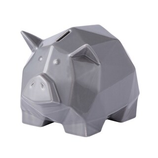 Origami Zoo Gray Ceramic Piggy Bank