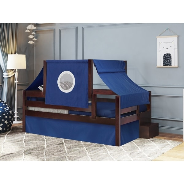 Castle Twin Bed with Step Blue and White Tent u0026&; Curtains ...  sc 1 st  Overstock.com & Shop JACKPOT! Castle Twin Bed with Step Blue and White Tent ...