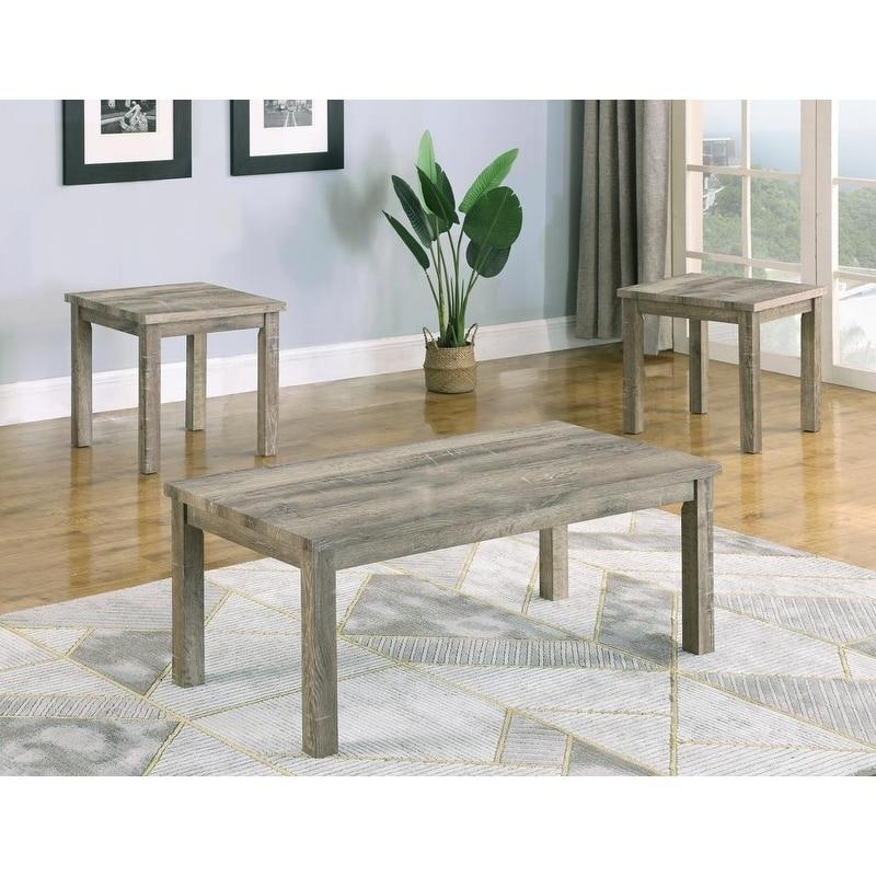 Best Master Furniture Light Grey Wood 3 Piece Coffee Table Set