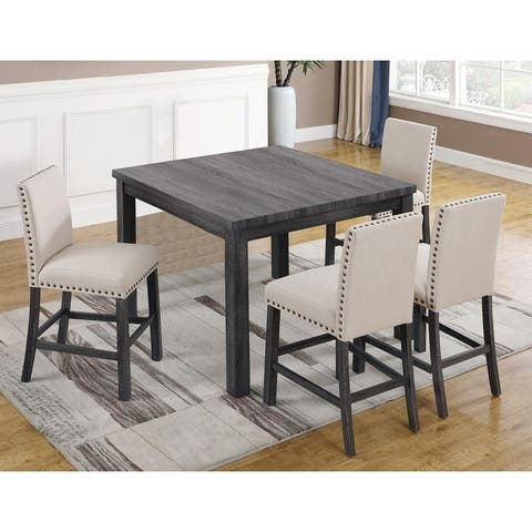 Best Master Furniture 5-piece Antique Grey Counter Height Dining Set