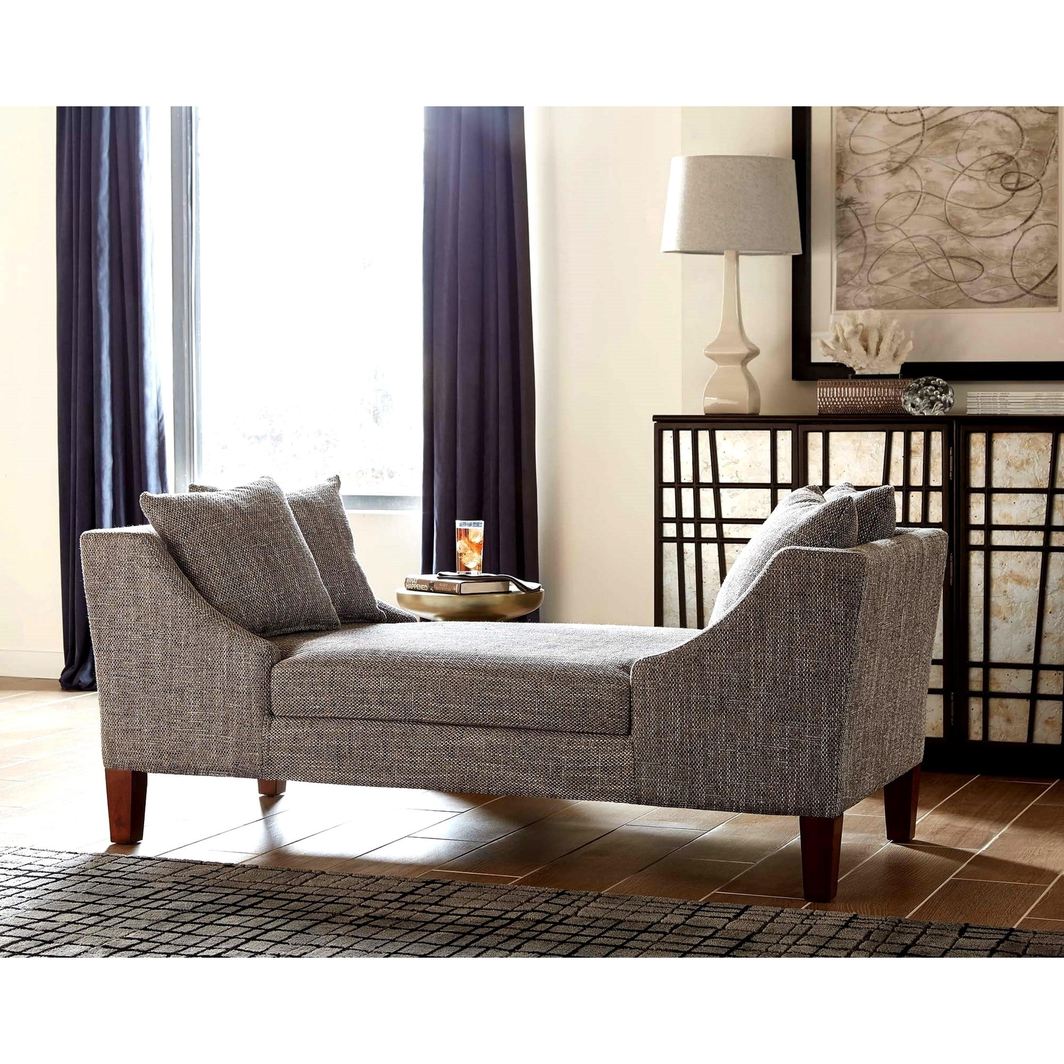 Modern Design Grey Fabric Wood Double Chaise Sofa Bench On Sale Overstock 26951756