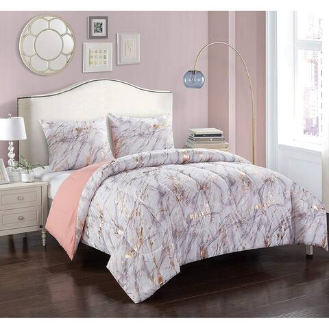 Silver Orchid Lloyd Rose Gold and Marble Comforter Set