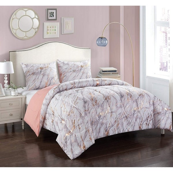 Shop Silver Orchid Lloyd Rose Gold And Marble Comforter