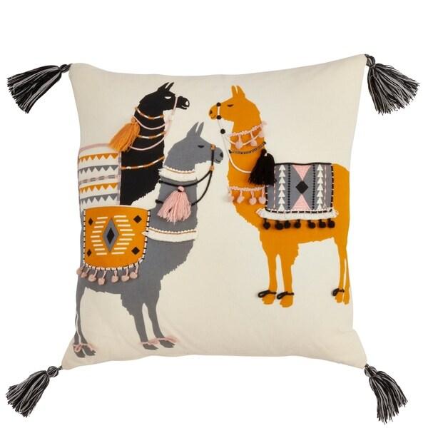 Llama Pack Print Down Filled Throw Pillow