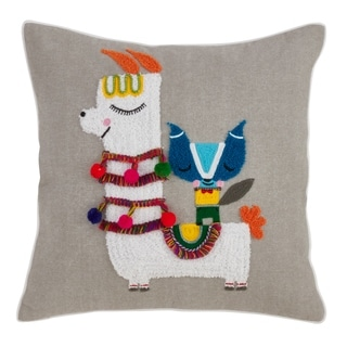 Cotton Poly-fill Llama Embroidery Throw Pillow