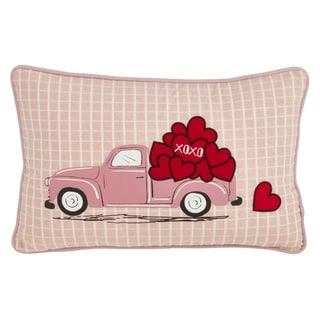 Saro Lifestyle Love Truck Print Pillow with Poly Filling
