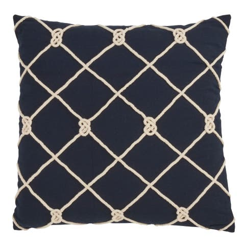 Knotted Rope Down Filled 20 Inch Decorative Throw Pillow