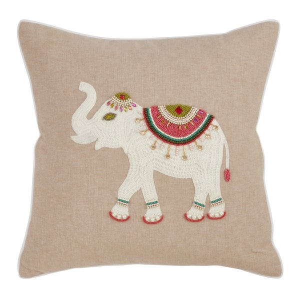 Poly-filled Elephant Embroidery Beaded Pillow