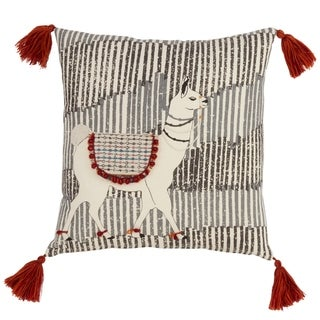 Down Filled Tasseled Throw Pillow With Llama Design