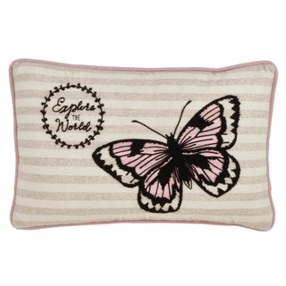Saro Lifestyle Explore the World Beige/ Pink 13-inch x 20-inch Butterfly Throw Pillow