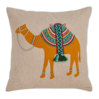 Saro Lifestyle Camel Embroidered and Beaded Pillow