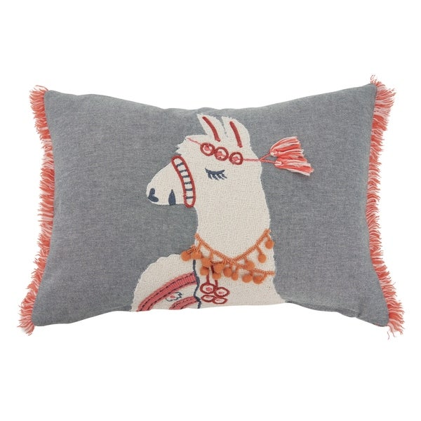 Down Filled Throw Pillow With Llama And Fringe Design