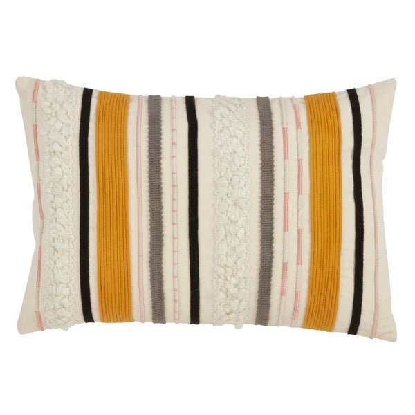 Saro Lifestyle Corded Boucle Yarn Applique Throw Pillow with Down Filling