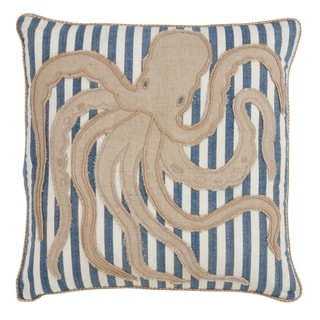 Striped Octopus Down Filled 18 Inch Decorative Throw Pillow