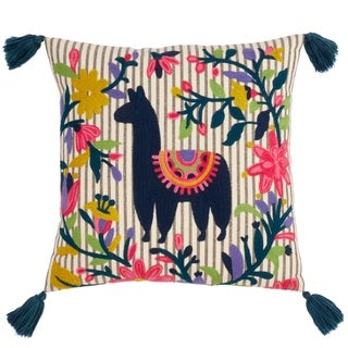 Saro Lifestyle Embroidered Llama Poly-filled Throw Pillow with Tassels