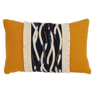 Yellow Down-filled Wavy Stitched Throw Pillow