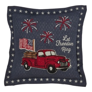Saro Lifestyle Grey Let Freedom Ring Throw Pillow