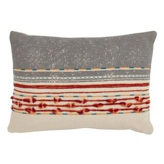 Cotton Down-fill Cord Applique Throw Pillow