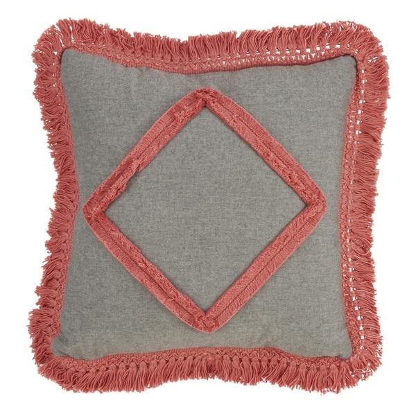 Lace Appliqué Design Cotton Fringe Throw Pillow With Down Filling