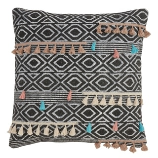 Geometric Print Down Filled Throw Pillow With Tassels