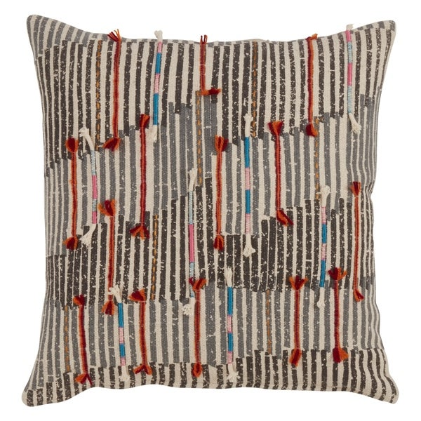 Cotton Throw Pillow With Cord Appliqué And Down Filling