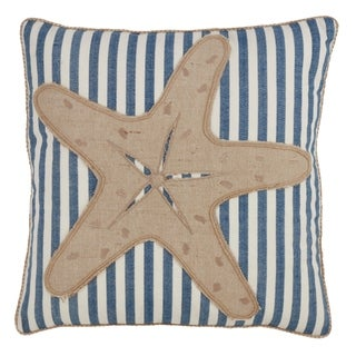 Striped Starfish Down-filled 18-inch Decorative Throw Pillow