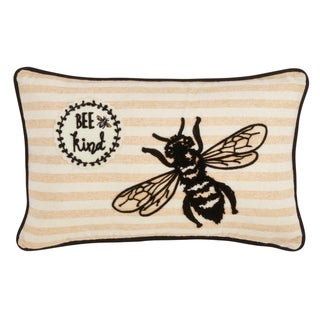 Saro Lifestyle Bee Kind Poly Filled Throw Pillow