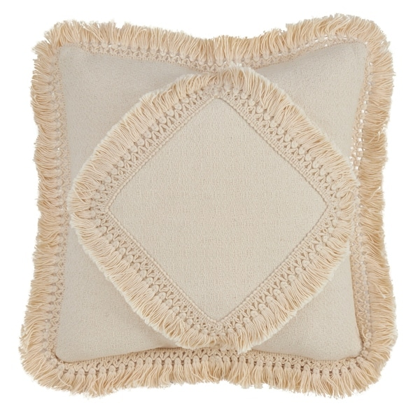 Down Filled Throw Pillow With Cotton Fringe Lace Appliqué Design
