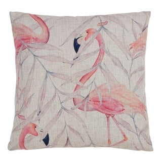 Flamingo and Leaves 18 Inch Throw Pillow