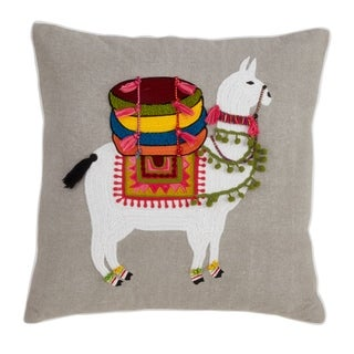 Saro Lifestyle Llama Embroidered Cotton 18-inch Throw Pillow