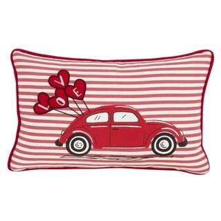 Saro Lifestyle Love Car Print Poly-filled Pillow