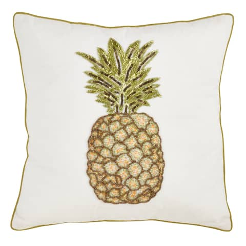 Cotton Throw Pillow with Beaded Pineapple Design and Poly Filling