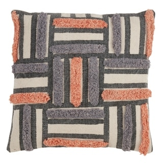 Cotton Throw Pillow With Printed And Embroidered Design And Down Filling