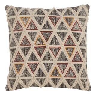 Saro Lifestyle Embroidered Triangle Design Down-filled Throw Pillow