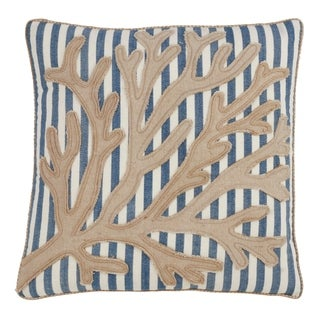 Saro Lifestyle Striped Sea Fan Down-filled Decorative Throw Pillow