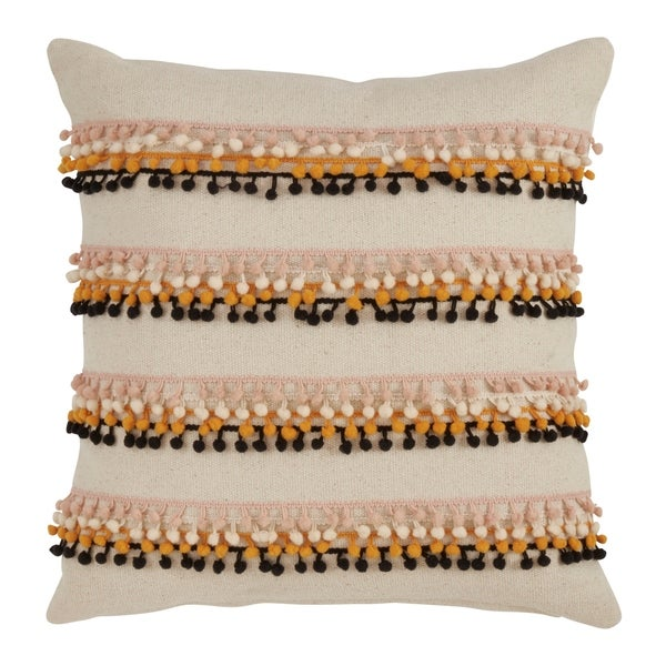 Pom Pom Appliqué Down Filled Throw Pillow