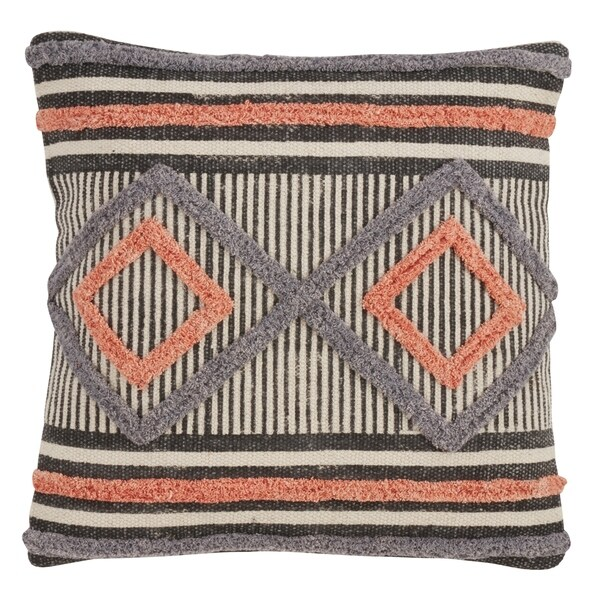 Embroidered Diamond Throw Pillow With Down Filling