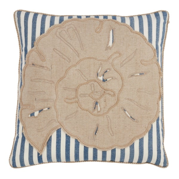 Saro Lifestyle Striped Sea Shell Down Filled 18-inch Decorative Throw Pillow
