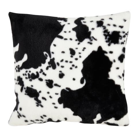 Saro Lifestyle Faux Fur Cow Hide 18-inch Decorative Throw Pillow