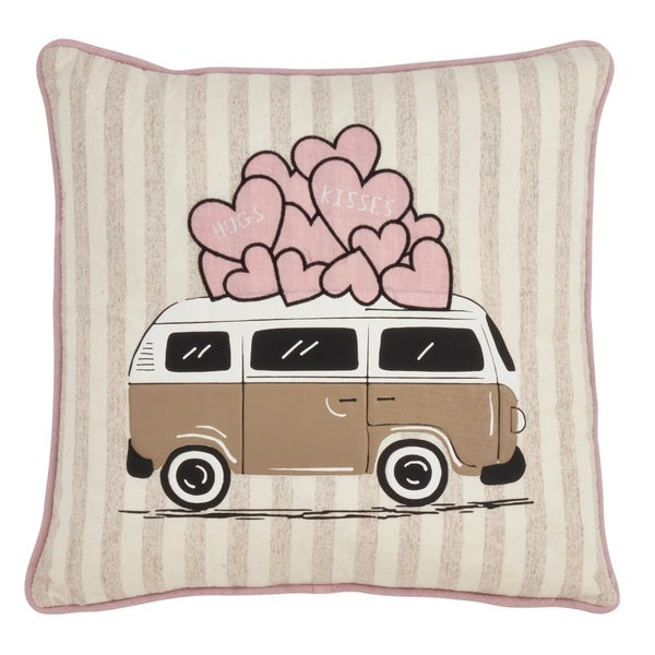 Saro Lifestyle Love Bus Print Poly-filled Pillow