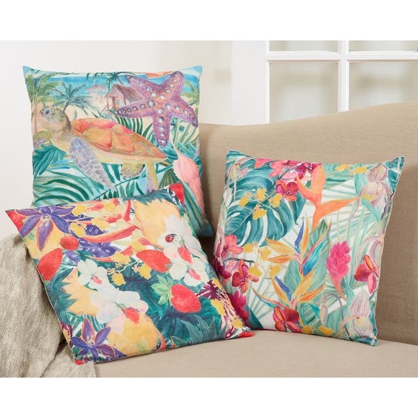 Tropical Print Throw Pillow With Turtle Design On Sale Overstock 26951851
