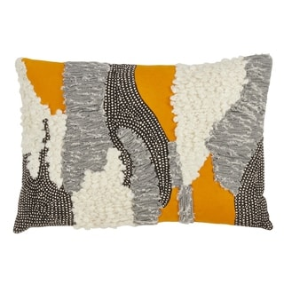 Saro Lifestyle Boucle Yarn Applique Multicolor Cotton Throw Pillow with Down Filling