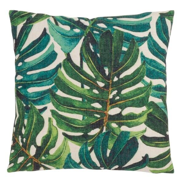 Tropical Throw Pillow With Banana Leaf Print