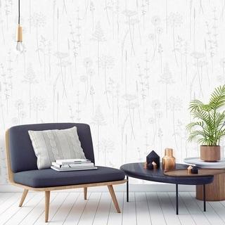 Meadow Silver Wallpaper