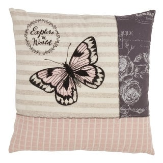 Poly-fill Explore the World Butterfly Throw Pillow