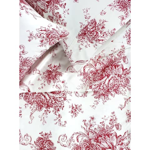 Printed Design Cotton Collection 400 Thread Count Red Toile Embroidered Sheet Set