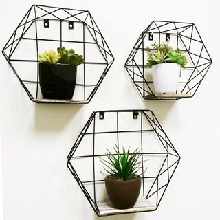 Hexagon wall-mounted metal wire hanging storage shelves, Black, 3pcs
