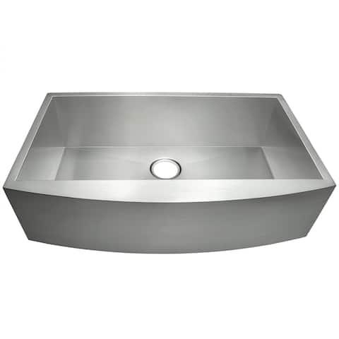 "AKDY 33"" x 20"" x 9"" Apron Farmhouse Handmade Stainless Steel Single Bowl Kitchen Sink - Silver"