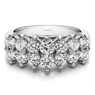 Platinum Double Row Double Shared Prong Raised Wedding Ring Mounted With Diamonds G H I2 1 99 Cts Twt